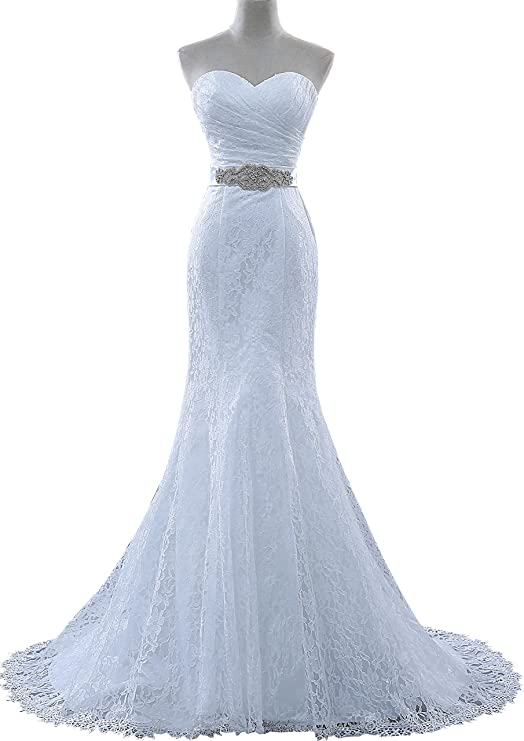 Review obqoo Sexy Sweetheart Lace Sash Mermaid Wedding Dress With Tail Ivory Pure White