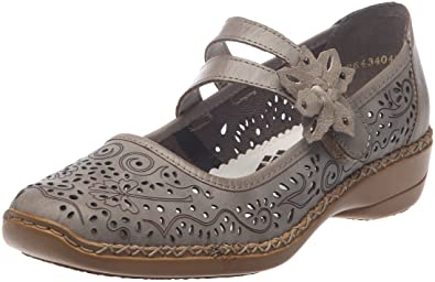 Ladies Rieker Hook /& Loop Cut Out Detail Leather Mary Jane Flat Shoes 41372