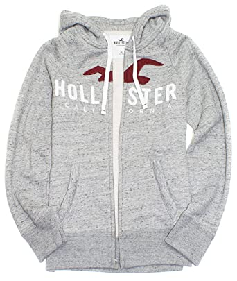 76cfed1e21df Amazon.com  Hollister Men s Logo Graphic Full Zip Fleece Hoodie HOM-24   Clothing
