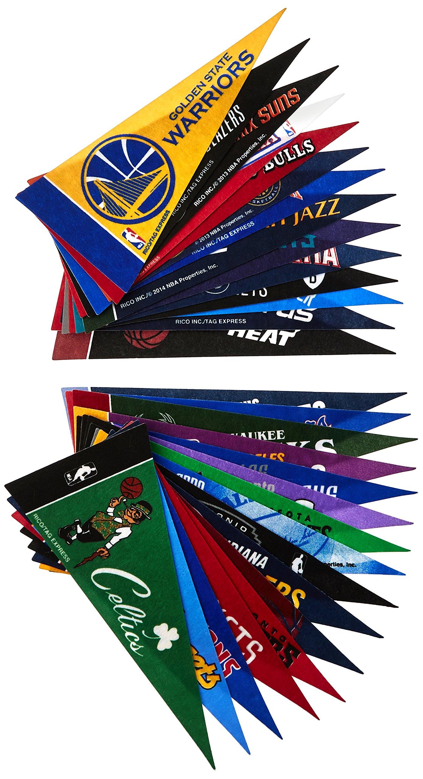 NBA Industries NBA Mini Pennant Set, Small, Black