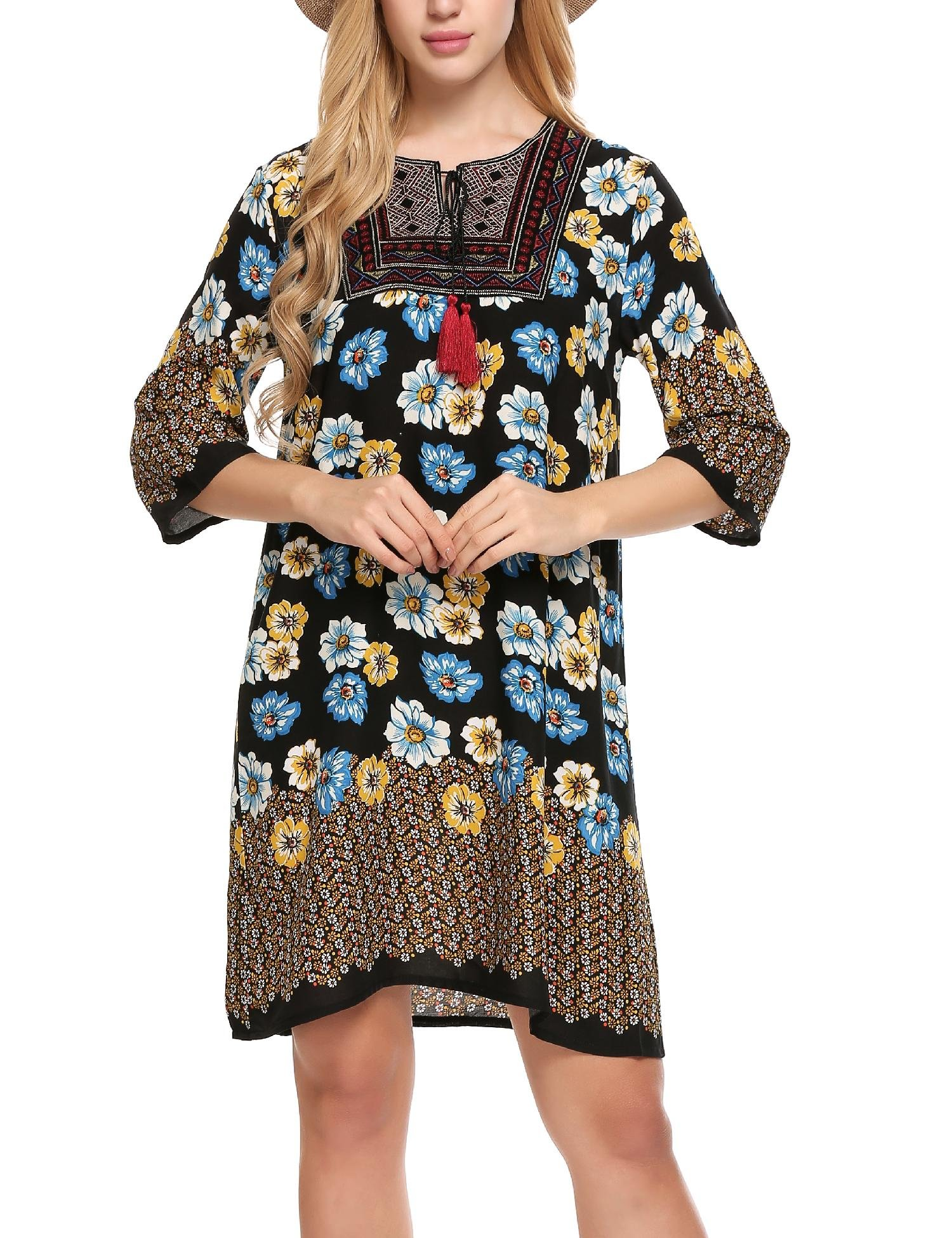 Elesol Women Summer Shift Dress Bohemian Neck Tie Vintage Printed Ethnic Style Pattern2 M
