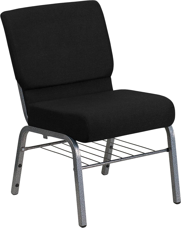 Flash Furniture HERCULES Series 21''W Church Chair in Black Fabric with Book Rack - Silver Vein Frame