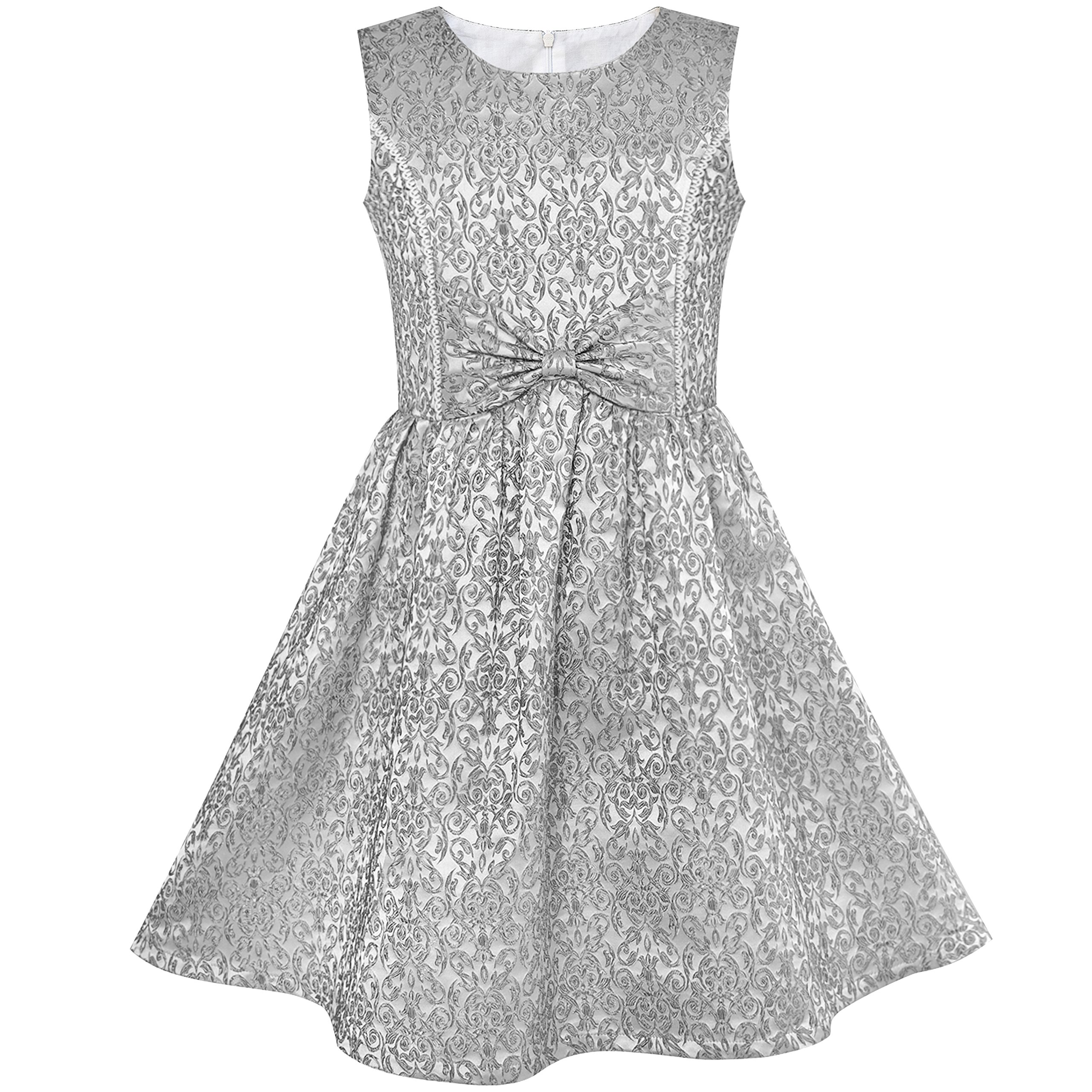 Sunny Fashion LS24 Girls Dress Gray Bow Tie Jacquard Fit and Flare Princess Size 8