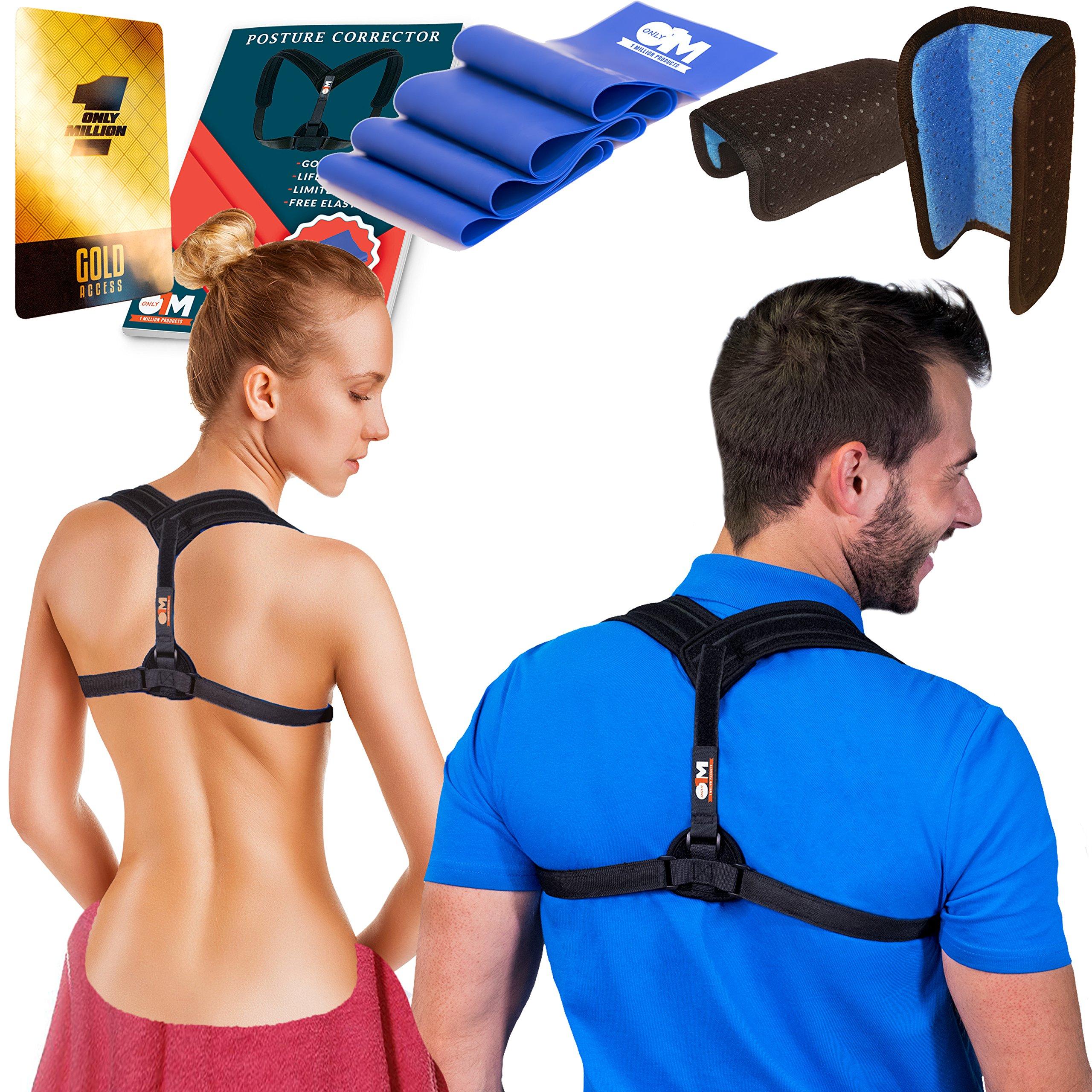 Only1MILLION Posture Corrector for Women & Men + Resistance Band for Fix Upper Back Pain – Adjustable Posture Brace for Improve Bad Posture | Thoracic Kyphosis Brace (Black)