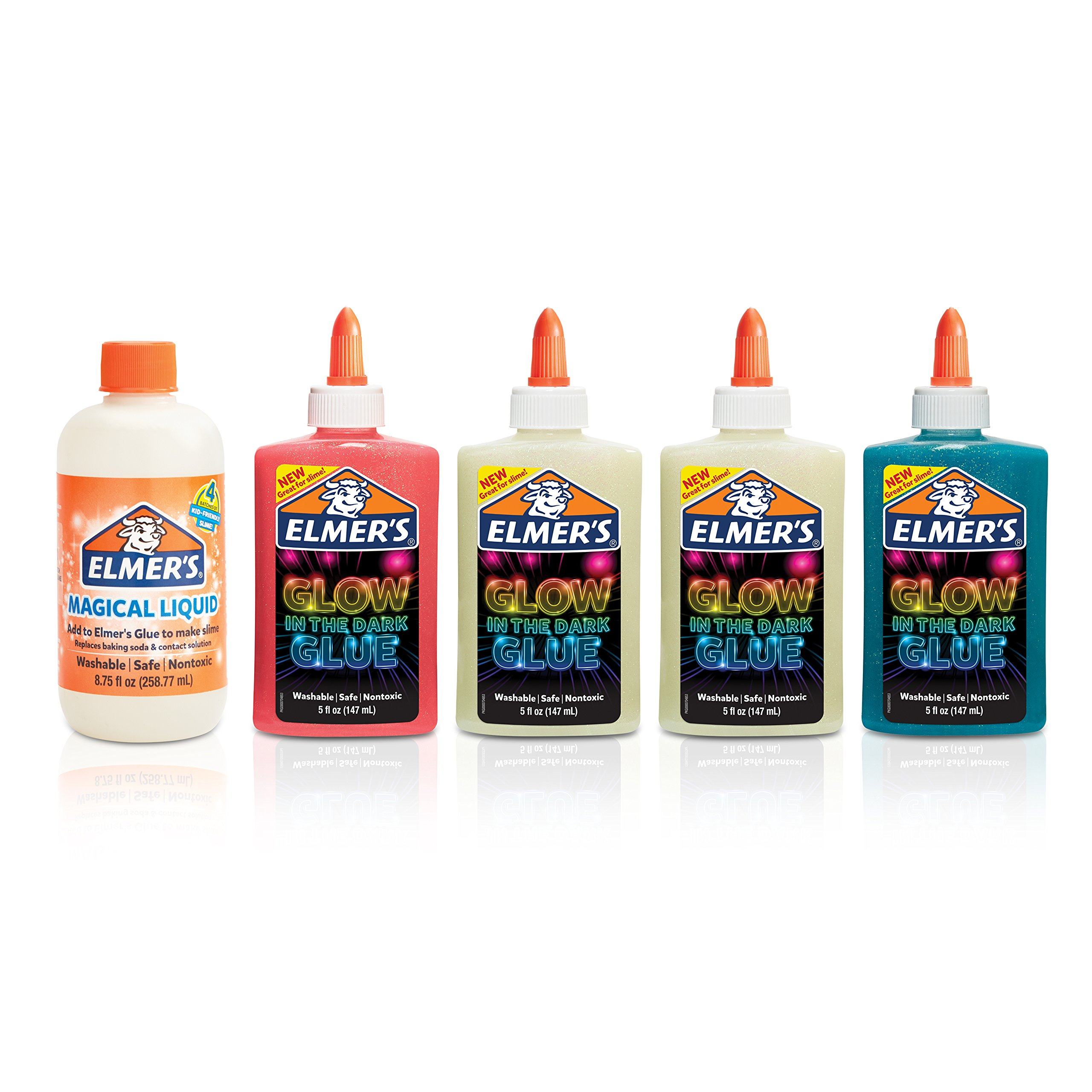 Elmer's Magical Liquid - Slime Activator and Elmer's Glow-in-the-Dark Liquid Glue, Washable, Assorted Colors, 5 Ounces Each - Great For Making Slime