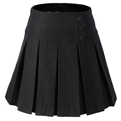 Vocni Women A-Line Wool Blend Lined Pleated Mini Skirt Side Zipper at Women's Clothing store