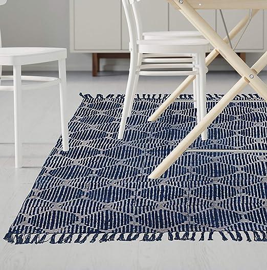 The Art Box Alfombra India Hecha a Mano de algodón para decoración del hogar, Alfombra de Suelo o Esterilla de Yoga: Amazon.es: Hogar