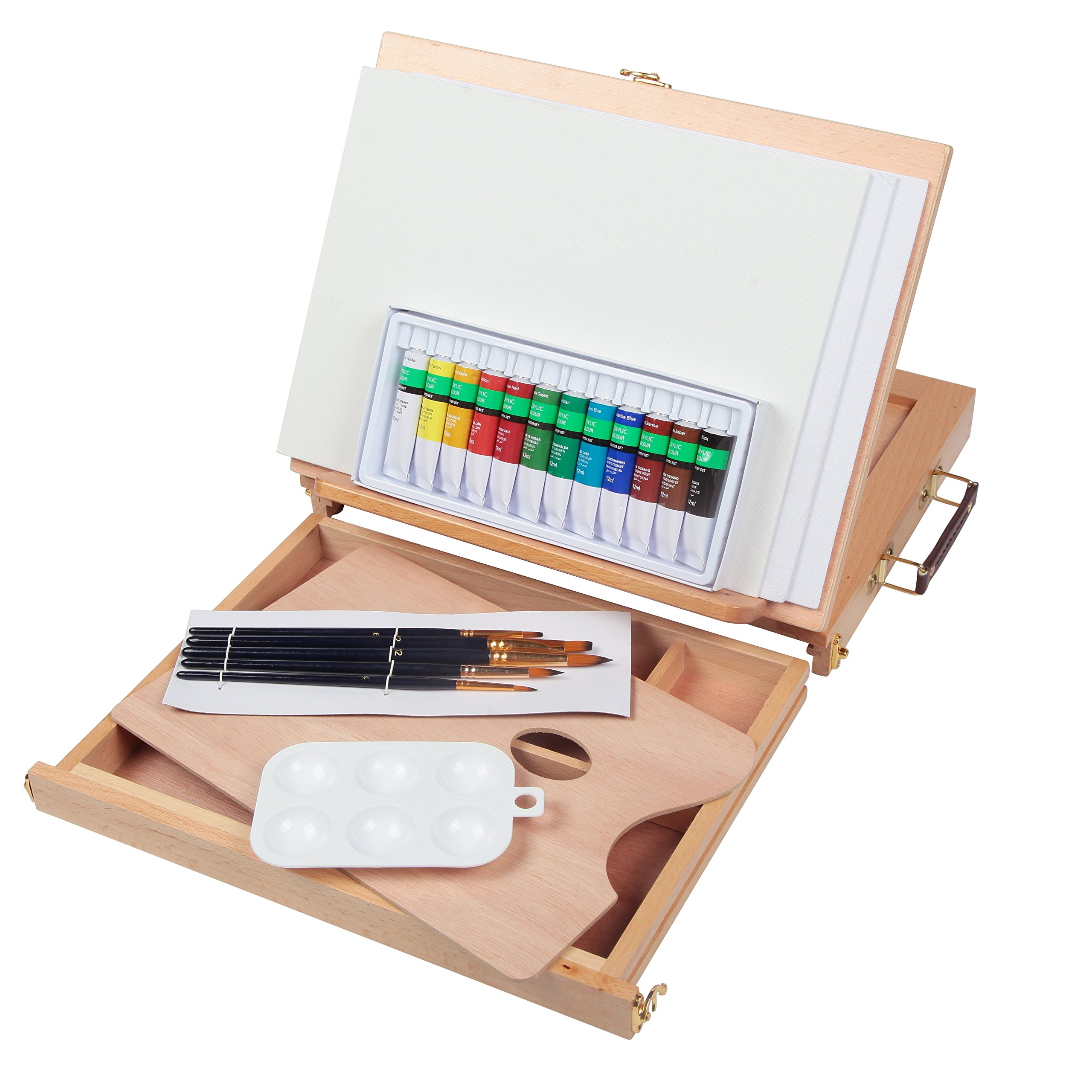 Falling in Art Portable Beechwood Painting Table Sketch Easel - 12 Tube Acrylic Colors, 12''x9'' Canvas Panels, 5 Nylon Brushes, 6-Well Plastic Palette and Extra Wooden Palette