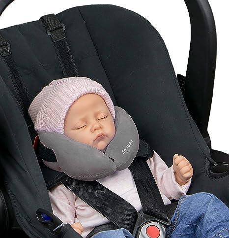 SANDINI SleepFix® Baby – cojín cervical con función - Accesorios de asiento infantil para coche/bicicleta/viaje - Reposacabezas/reductor de asiento/ ...