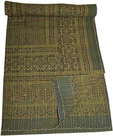 Tribal Asian Textiles Reina tamaño Ajarak Kantha Colcha Algodón Reversible Ralli cama Spread Manta, algodón, Verde ...