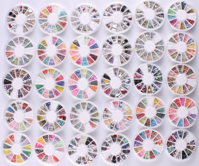 Wholesale 30 pcs Nails Gaga 3d Nail Art Tips/ Fimo Nails decorations Glitters Rhinestones Beads Wheel by 47krate USA