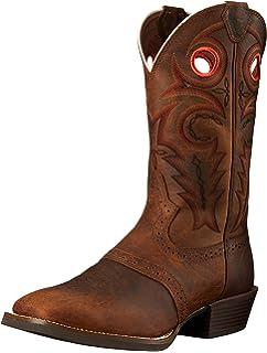 7c8c2039246 Amazon.com: Justin Mens Stampede Punchy Sq Black Boots: Sports ...