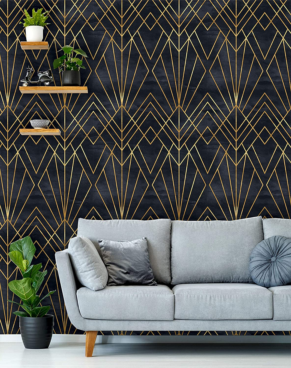 removable peel n stick wallpaper self adhesive wall mural geometric black gold pattern watercolor black background art deco 24 w x 120 h inches amazon com removable peel n stick wallpaper self adhesive wall mural geometric black gold pattern watercolor black background art deco 24 w x 120 h