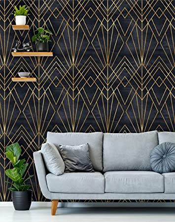 Removable Peel N Stick Wallpaper Self Adhesive Wall Mural Geometric Black Gold Pattern Watercolor Black Background Art Deco 24 W X 120 H Inches Amazon Com
