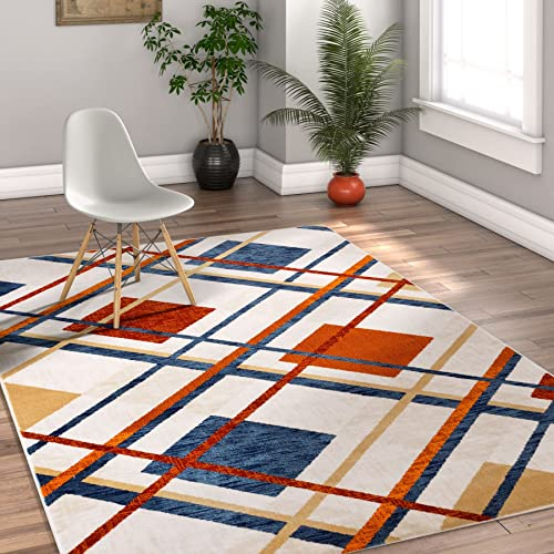 Well Woven Royal Tartan Plaid Beige Multi Red Blue Vintage Modern Checked Geometric Shabby Chic 4×6 3 11 x 5 7 Area Rug Neutral Thick Soft Plush Shed Free