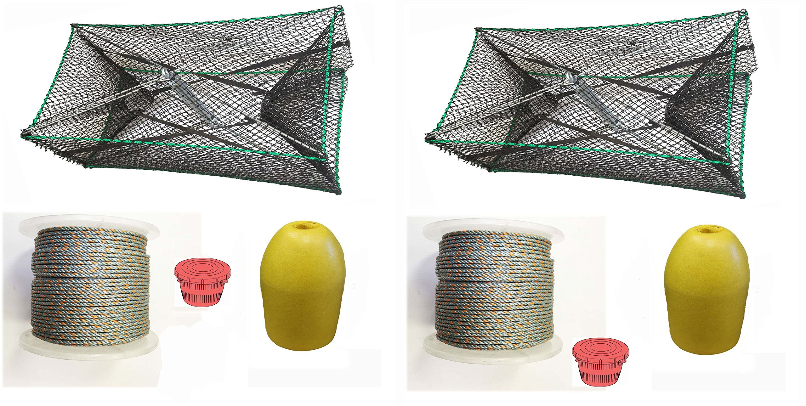 2-Pack of KUFA Sports Galvanized Steel Foldable Prawn trap with 400' rope, Yellow float and Vented Bait Jar combo (S34+PAQ1)x2 by KUFA Sports