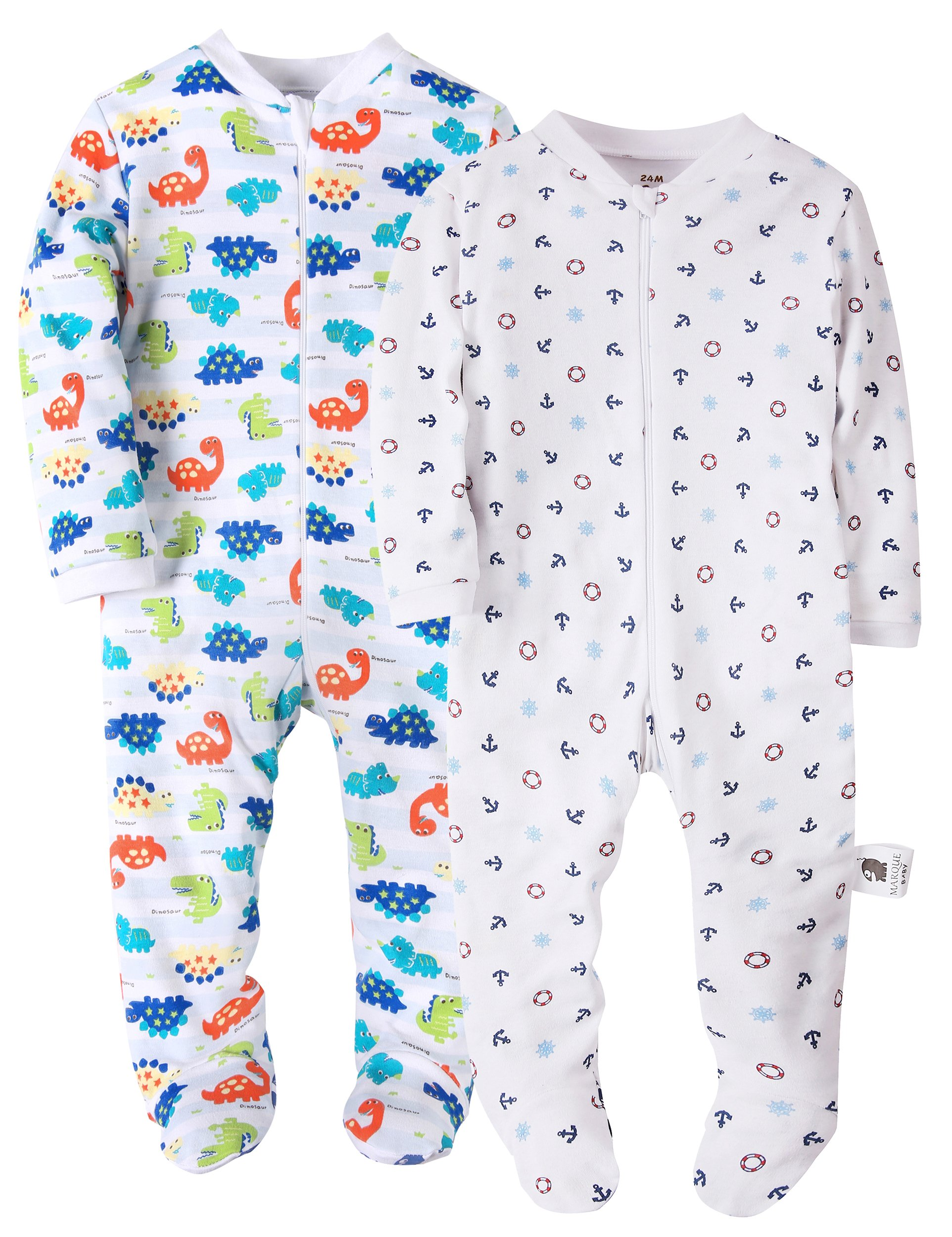 Marquebaby 2 Pack Dinosaurs & Anchor Baby Boys Footed Pajama 100