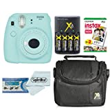 Fujifilm Instax Mini 9 Instant Film Camera With Fujifilm Instax Mini Instant Film Twin Pack (20 Sheets), Compact Bag Case, Batteries and Battery Charger (Ice Blue)