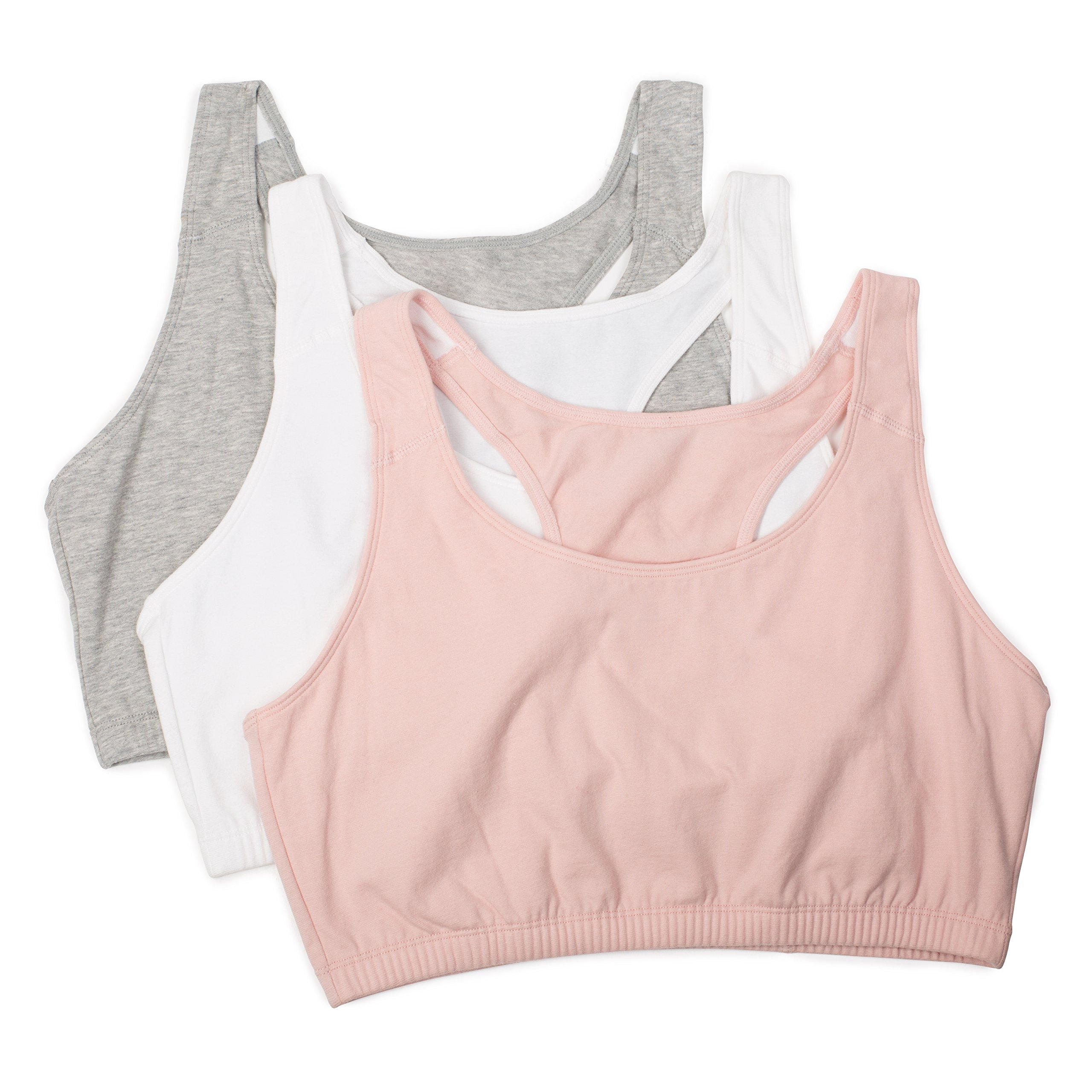Fruit of the Loom Women's Built-Up Sports Bra 3 Pack Bra, Blushing Rose/White/Heather Grey, 44 by Fruit of the Loom