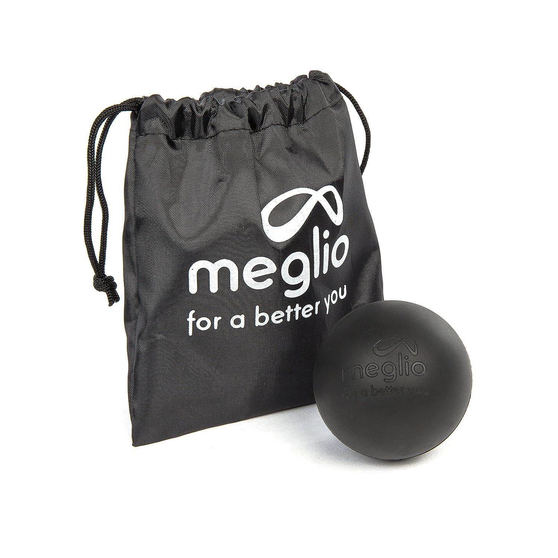 Meglio Balón Lacrosse de masaje para liberación miofascial, alcanza los tejidos profundos con el masaje de los puntos gatillo - Bolsa de transporte incluida, negro