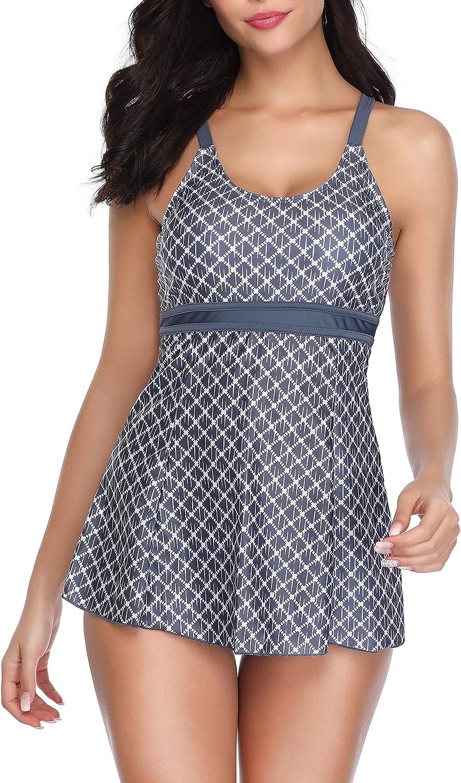 YTBeauty Womens Halter Swimdress with Boyshorts 2 Pcs Printed Tankini Sets Plus Size Swimwear Bathing Suits