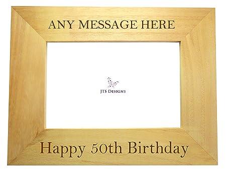 Happy Birthday Personalised Oak Photo Frame 6x4 1st 16th 18th 21st