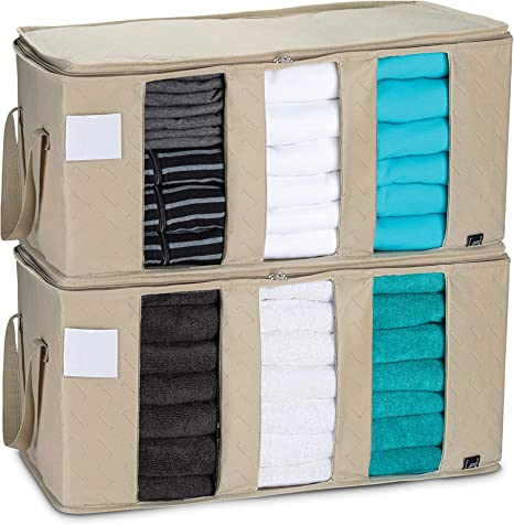 3 CompartmentsClothes Bin Organizer 2 Pack Upgraded Foldable Storage Bag