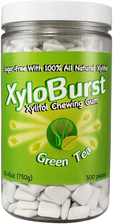 Focus Nutrition, XyloBurst Sugar-Free Xylitol Chewing Gum Jar, Green Tea - 500 Pieces