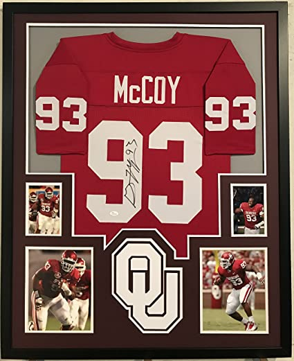 81b56a4ea46 Image Unavailable. Image not available for. Color  Gerald McCoy Autographed  Custom Framed Oklahoma Sooners Jersey JSA Witnessed COA