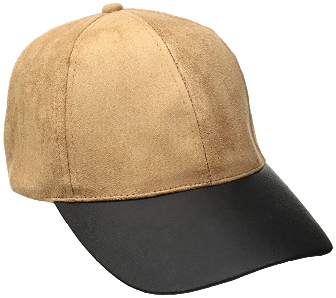 4643e944f855 Rampage Women's Micro-Suede Baseball Cap with Pu Brim, Tan, One Size ...