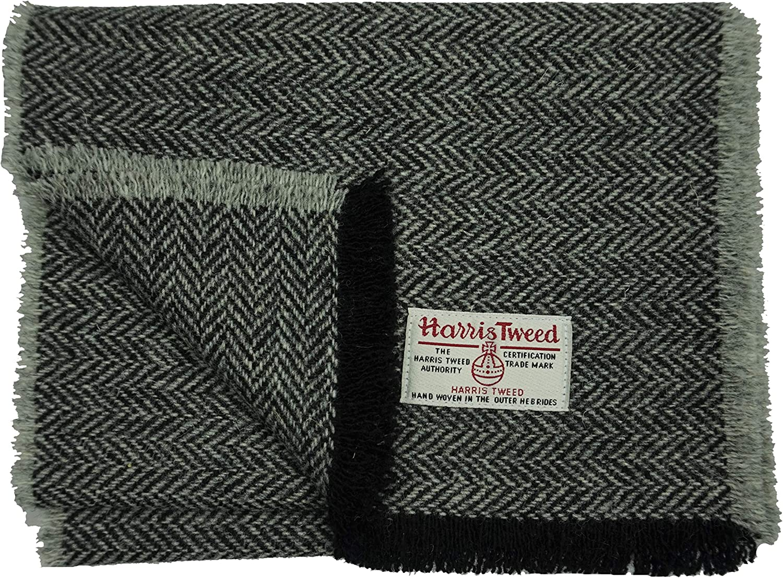 Multicolour Standard Fringed Lambswool Scarf with Striped Herringbone Tweed Desi
