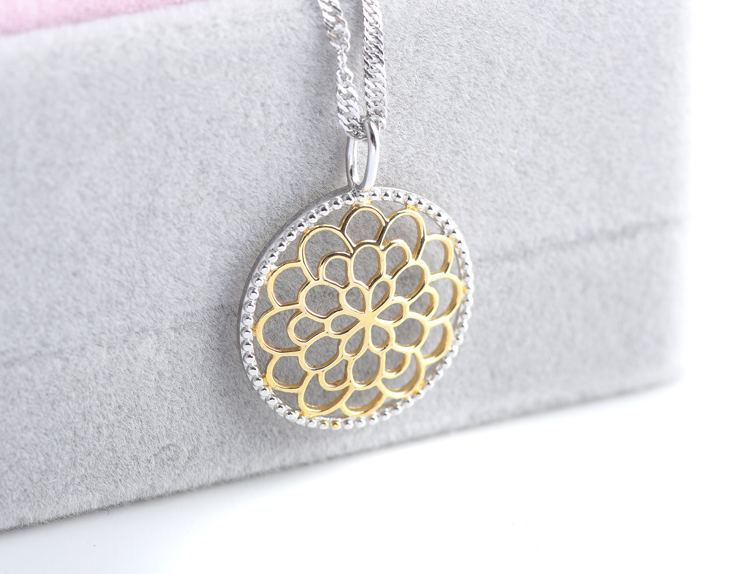 Sterling Silver and 18K Gold Bali Inspired Filigree Round Circle Floral Pendant Necklace, Best Jewelry for Women, 16/18