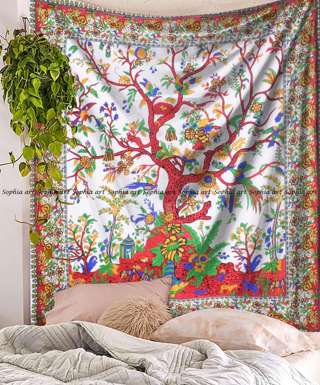 Sophia Art indien hippie Arbre de vie Tapisserie psych/éd/élique Tapisserie Mandala D/écoration murale /à suspendre Tenture murale Indian Boho tapisseries Reine de Boh/ême D/écoration murale /à suspendre