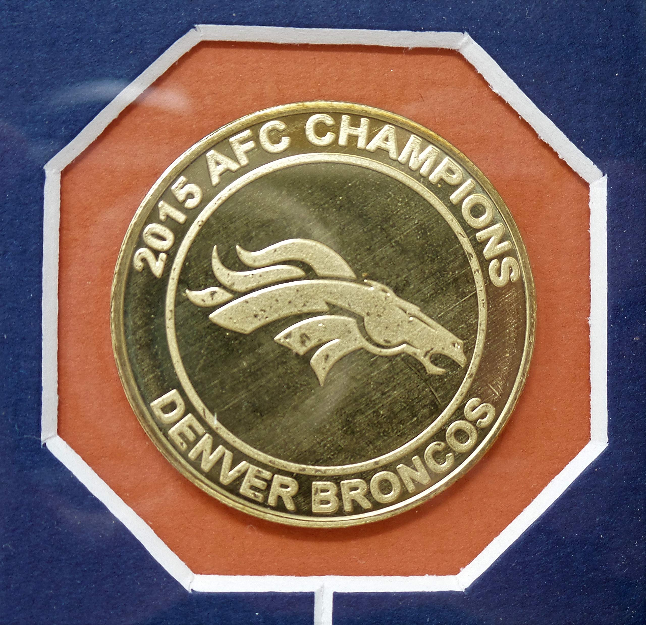 "Denver Broncos Super Bowl 50 Plaque And Collectors Coins By The Highland Mint 16"" x 13"" (Great For Mancave Display) Free Shipping"