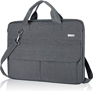 "Landici 14 15 Inch Laptop Sleeve Water Resistant Messenger&Shoulder Bag Compatible with 15"" MacBook Pro,2020 New Dell XPS 17,Surface Book 2,HP Pavilion,15.6 ASUS Chromebook Case Laptop Cover,Gray"