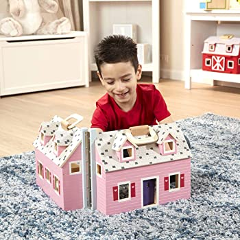 Melissa & Doug Pink Wooden Fold and Go Mini Dollhouse