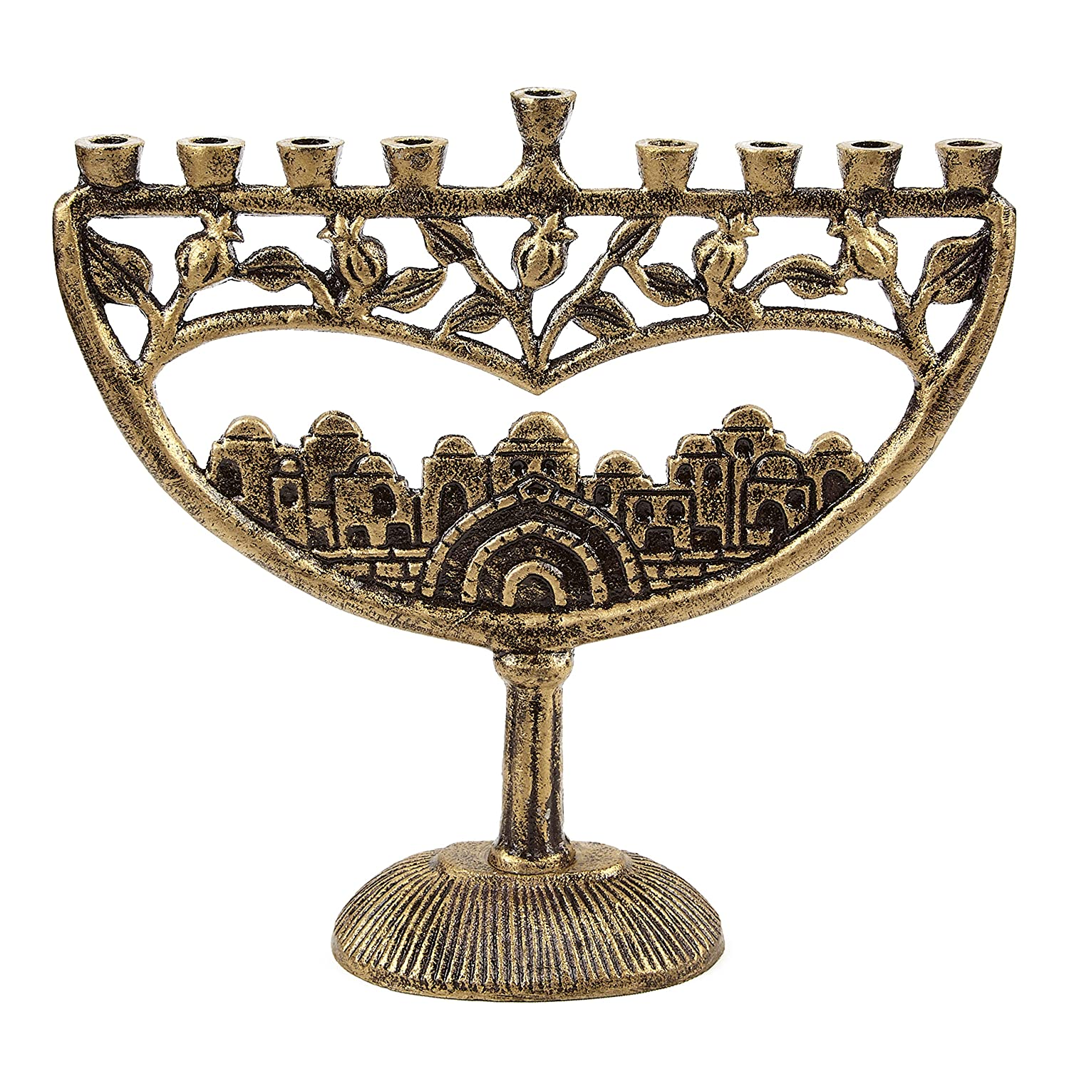 Ner Mitzvah Vintage Aluminum Candle Menorah - Fits All Standard Chanukah Candles - Ancient Jerusalem Design with Antique Gold Finish 30324