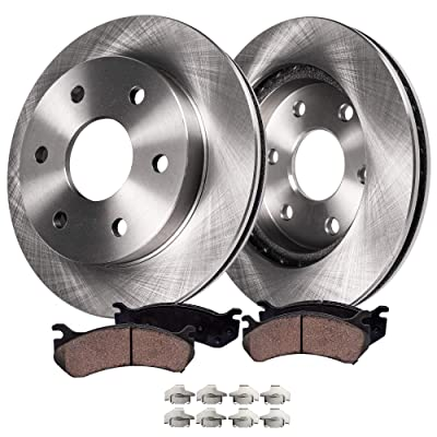 Detroit Axle - Complete FRONT Brake Kit Rotors & Ceramic Brake Kit Pads w/Clips Hardware Kit - 4WD ONLY for Cadillac Escalade Chevy GMC K1500 K2500 Pickup: Automotive