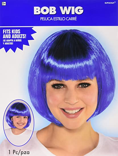 Amazon.com: Amscan Blue Bob Party Wig Costumes, 6 Ct.: Toys ...