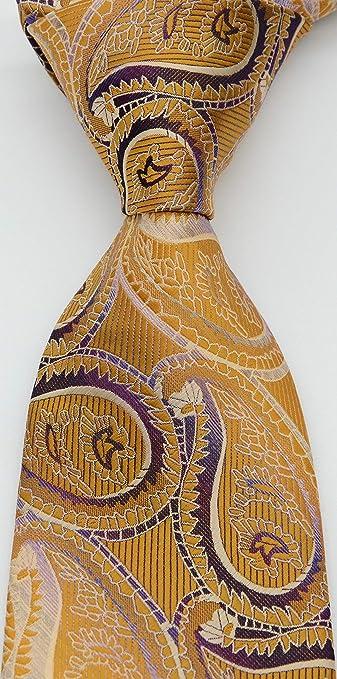 Geotae Zerun Corbata clásica de cachemira dorada y morada de seda ...