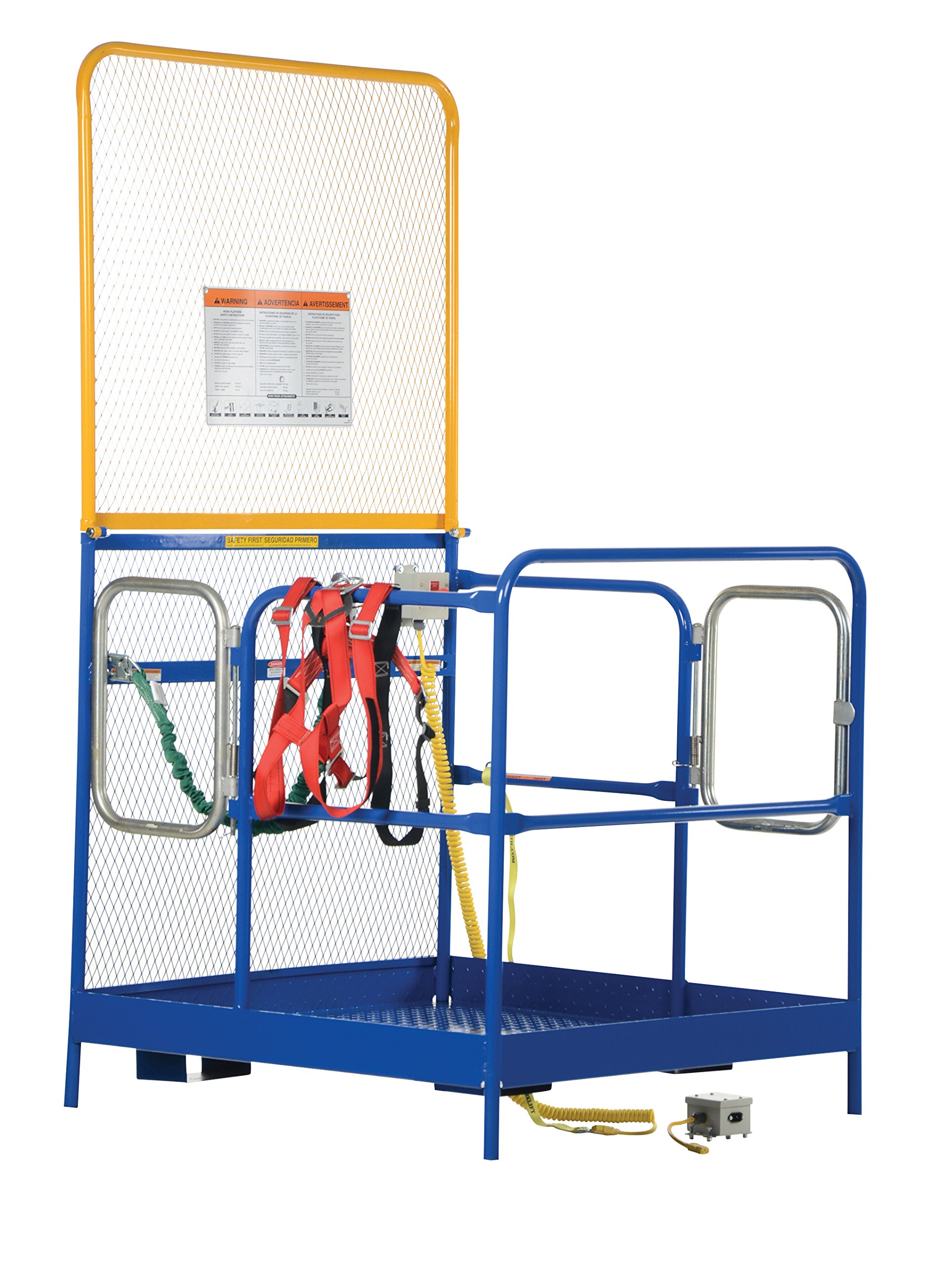 Vestil WP-4848-84B-DD-FF Steel Work Platform, Emergency Stop Button Kit and Web Lanyard with Safety Harness, Double Doors, 1000 lb Capacity, 48'' x 48'' with 84'' Back, Powder Coat Blue