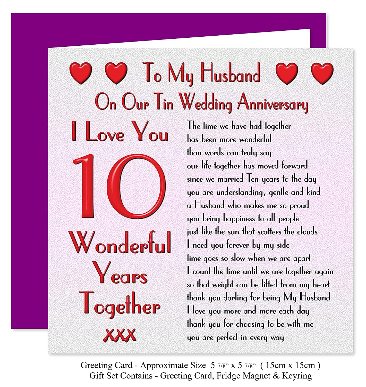 my husband 10th wedding anniversary t set card keyring