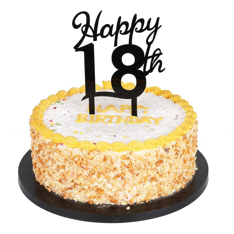 Amazon.com: QIYNAO Black Plastic Happy Cake Topper - Birthday ...
