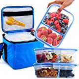 [3 Pack] Glass Meal Prep Containers BPA Free in Large Insulated Lunch Box/Bag Kit - Leakproof Compartments - Best Reusable Food Storage Container Set - Airtight Locking Lids - Healthy Portion Control