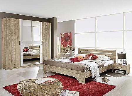 AVANTI TRENDSTORE - Rubi - Camera da letto completa in laminato di quercia  sanremo chiaro/ bianco