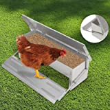 "Voilamart Automatic Chicken Chook Poultry Feeder, 11 Pounds of Feed, Aluminum Auto Treadle Self Opening, Container Size 21""L x 7""W x 3.35""H"