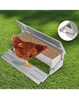 Voilamart 4.7KG Automatic Chicken Feeder Auto Treadle Self-Opening Aluminium Feed Chook Poultry