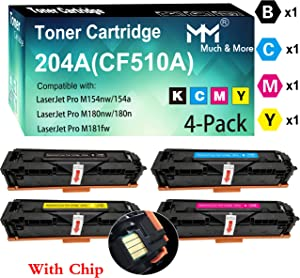 (4-Pack, with Chip, BK+C+M+Y) Compatible CF511A CF512A CF513A CF510A 204A Toner Cartridge Used for Laserjet Pro M154NW M154A M180NW M180N M181FW Printer, by MuchMore