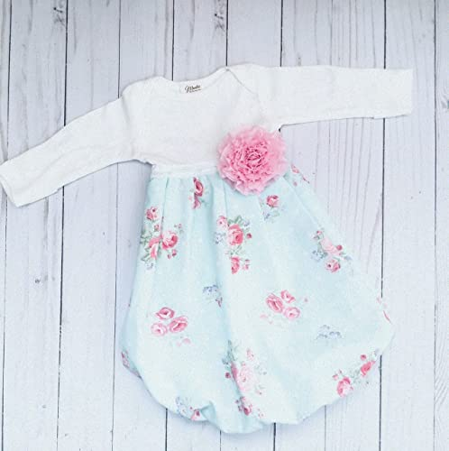 Newborn Baby Gown Floral Print Shabby Chic Design Girls Clothing