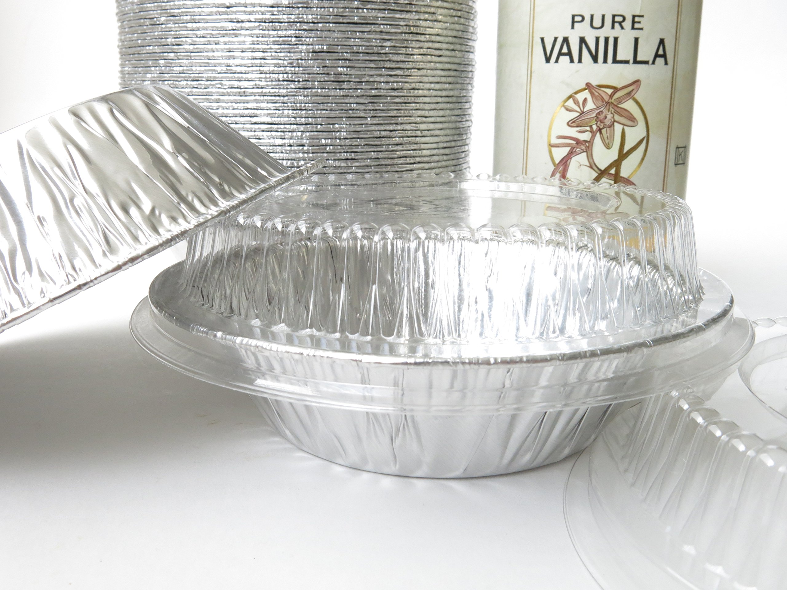 Disposable Aluminum 5'' Tart Pan/individual Pie Pan w/ Clear Dome Lid #501P (500)